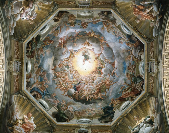 "Correggio, Assumption of the Virgin, 1526-30, fresco, 35' 10"" x 37' 11"" (Parma Cathedral, Parma)"